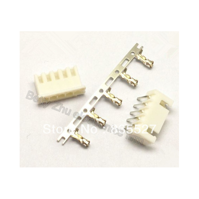 100pcs/lot Xh2.54-5p 5pin Terminal Block 2.54mm Pitch Connector : Plug + Plastic Bending Needle Socket + Terminal