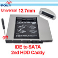 Wholesale 10pieces IDE to SATA 12.7mm Universal Aluminum 2nd hdd caddy For Laptops