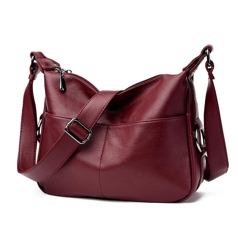 Women\'S Leather Handbags All-Match Shoulder Crossbody Bags Messenger Bag Big Size Hobos Women Bags