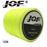 Jof 4 fili 100 m super strong giappone multifilamento 4 pe intrecciato linea di pesca 8 10 12 18 22 28 30 40 50 60 70 100LB