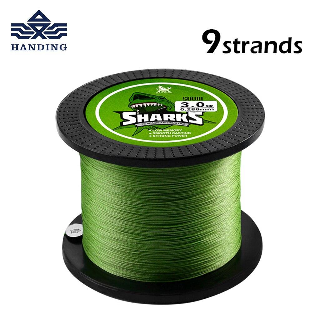 Handing 500M 9 Strands braided Fishing Line Multifilament super Strong 18LB 96LB PE line carp Fishing cord Fishing accessories