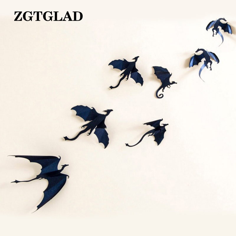 Us 188 Zgtglad 7pcslot Gothic Dragons Wall Sticker Game Of Thrones Inspired 3d Dragon Wallpaper Sticker Home Decor In Wall Stickers From Home