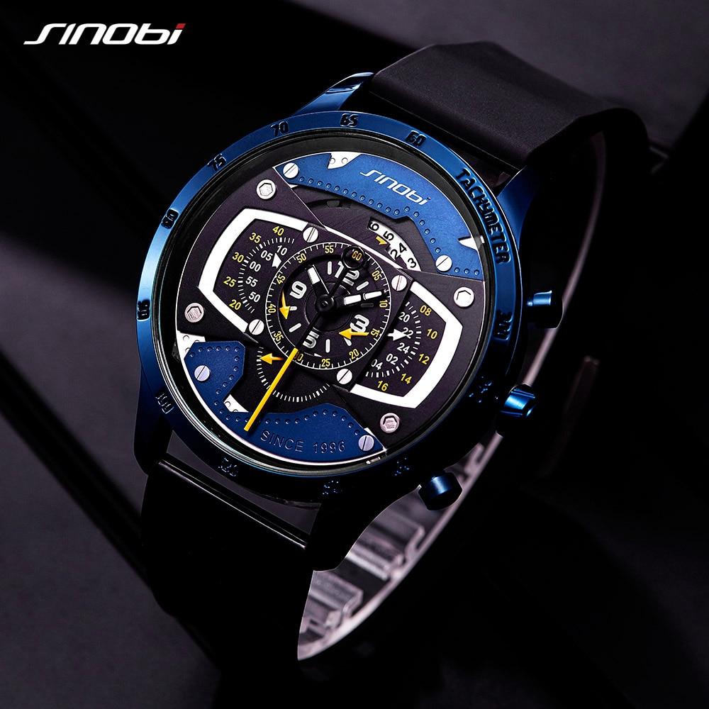 SINOBI Men's Watch NEW Creative Car Design Quartz Watch Fashion Speed Racing Sports Chronograph Watches Men Male  Clock 2019