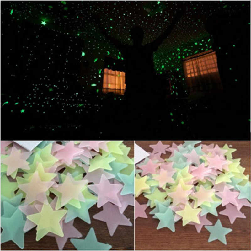 50pcs 3d étoiles brillent dans le noir papiers peints lumineux Fluorescent Stickers muraux pour enfants chambre de bébé chambre plafond décor à la maison