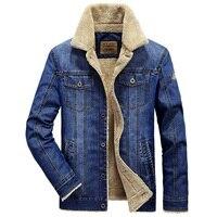 AFS JEEP Retro Denim Jacket Men Fur Collar Thicken Outwear Jacket Denim Coat Brand Clothing Men