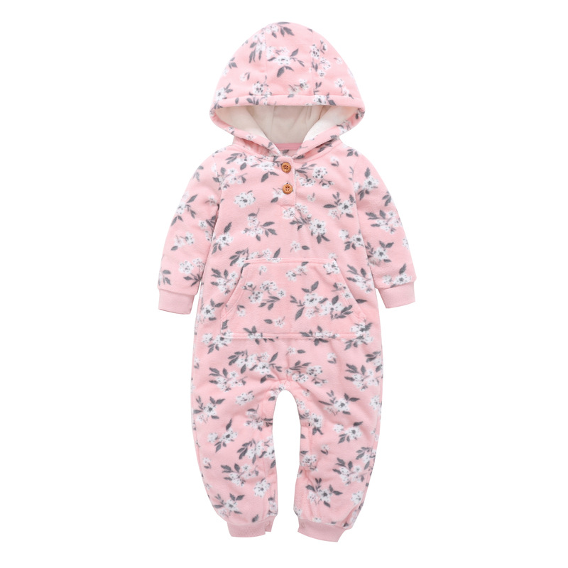 HTB1L2flmnqWBKNjSZFAq6ynSpXag 2018 New Bebes Clothes Newborn One Piece Fleece Hooded Jumpsuit Long Sleeved Spring Baby Girls Boys Body Suits Romper