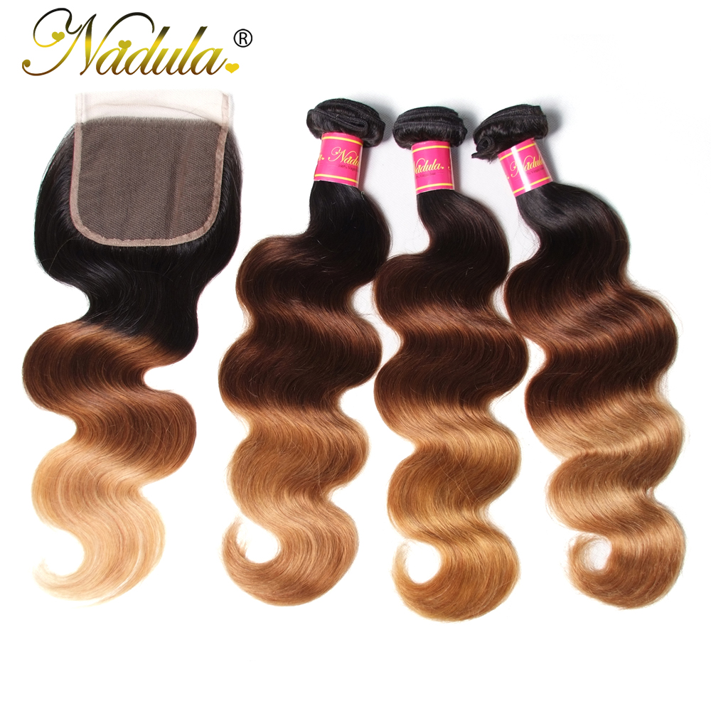 Nadula Hair Bundles T1b/4/27 Ombre Body Wave Bundles With Cosure Peruvian Hair With 4*4 Free Part Lace Closure Remy Hair