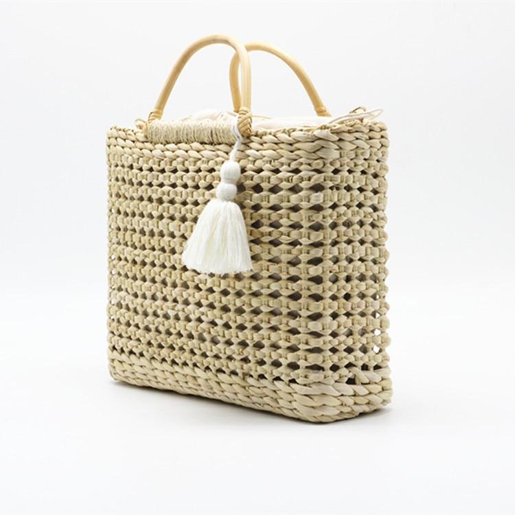 palha alça de madeira cor natural saco