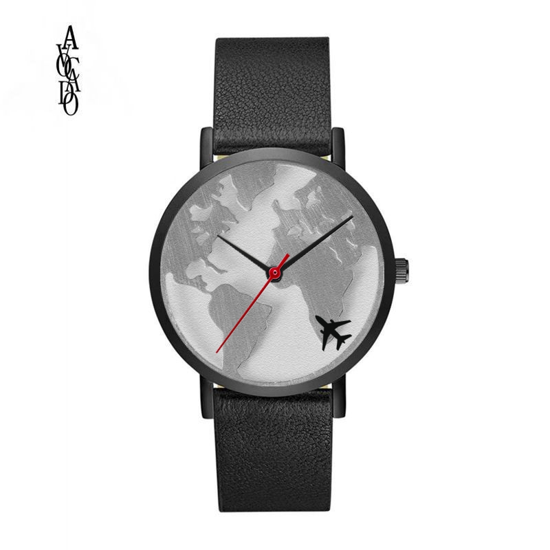 AVOCADO 2018 World Map Watch Women Men Wristwatch Flight Plane Black Case Black Leather Strap Boys Men's Quartz Watches Sports