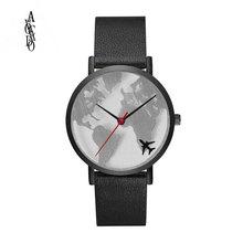 AVOCADO 2018 World Map Watch Women Men Wristwatch Flight Plane Black Case Leather Strap boys Mens Quartz Watches Sports