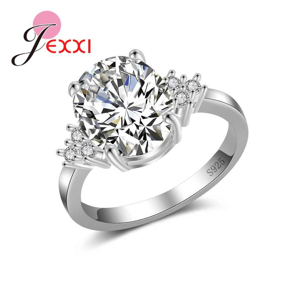 925 Sterling Silver Cz Crystal Simple Ring Sparkling Cubic