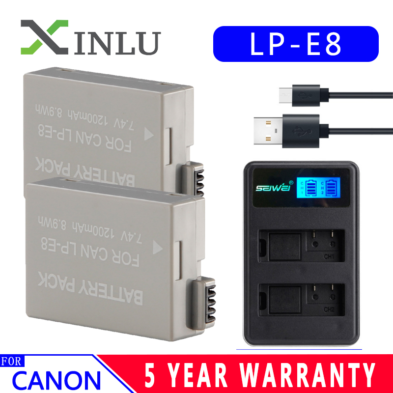 LPE8 LP-E8 LP E8 1200mAh Digital Camera <font><b>Battery</b></font> + USB Charger for <font><b>Canon</b></font> EOS <font><b>550D</b></font> 600D 650D 700D X4 X5 X6i X7i T2i <font><b>Batteries</b></font> Set image