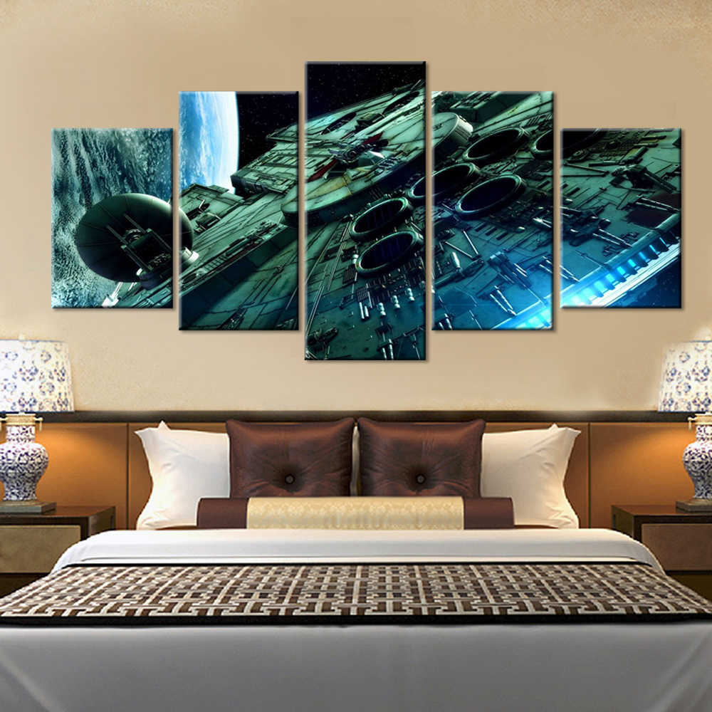 5 Pieces  Star Wars Millennium Falcon Canvas Painting Poster Prints home decor wall art picture WD-1107