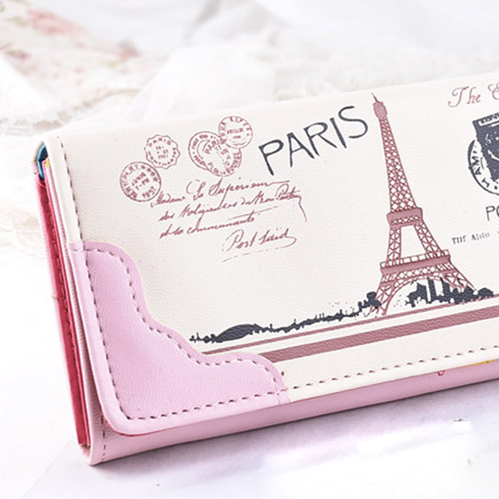 2018 New Women Wallet Long PU leather Paris Flags Eiffel Tower Style Lady Girls Coin Purses Clutch Wallets Money Bags цена