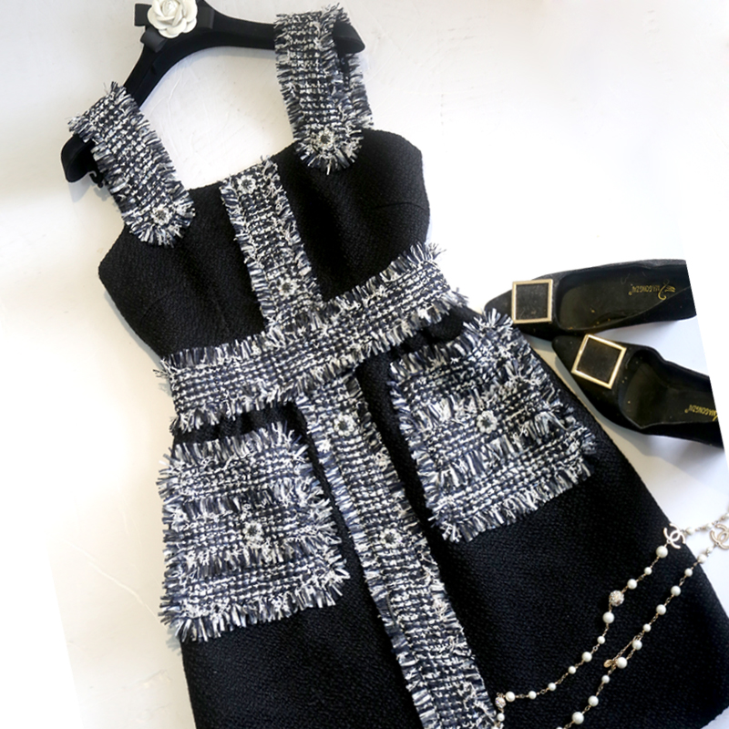 New small air fragrance and black diamond clasp tweed straps jumper dress spring and summer dress