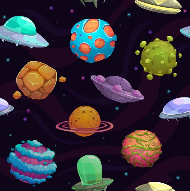 Laeacco Cartoon Universe Spaceship Planet Baby Party Photography Backgrounds Customized Photographic Backdrops For Photo Studio