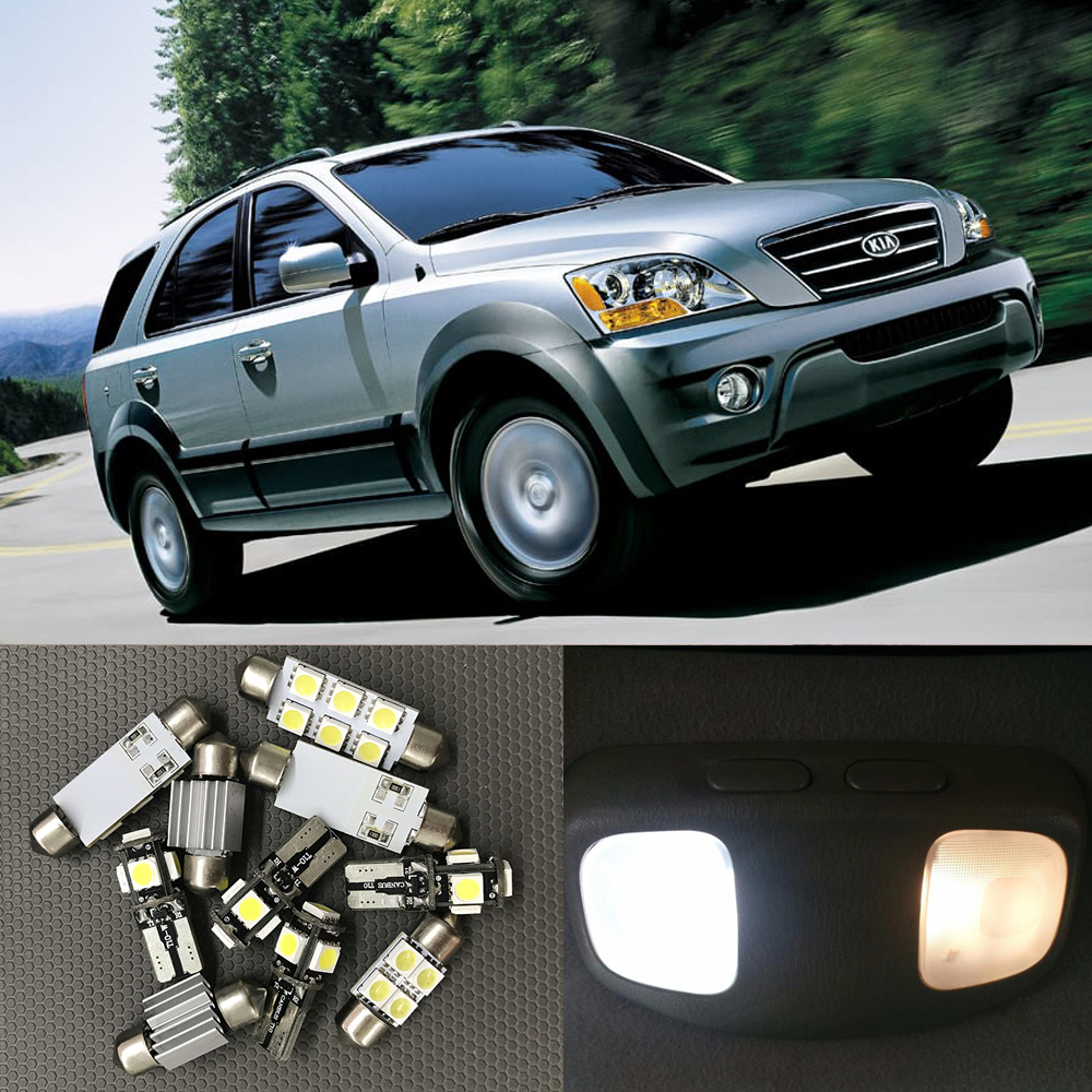 Super Bright Car Styling Car LED Kit Interior Glove Box Light For 2003-2008 Kia Sorento Door Step Dome Map License Plate Lights