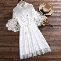 Japan Mori girl summer new sweet princess lapel flower embroidery Mesh whit short sleeve dress woman