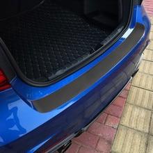 Protector de placa de puerta de maletero de coche, pegatinas de fibra de carbono 3D, cubierta de desgaste de umbral, calcomanía antiarañazos, accesorios universales para coche, 1 ud.