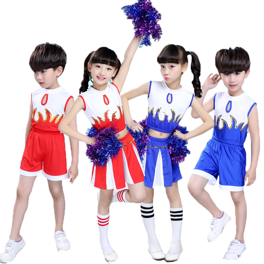 110-170cm Children Girls School Uniform Clothing Set Sleeveless Flame Print Kids Girls Skirt Cheerleader Dance Costumes