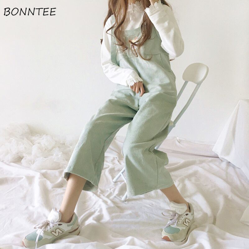 Jumpsuits   Women 2019 Loose Leisure Solid Corduroy Ankle-length Pants Cotton Lovely Korean Cartoon Embroidery Bodysuits Kawaii