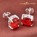 Nueva moda 2016 hermosa pequeño baño de plata reina joyería de la boda aretes de color rojo para mujeres