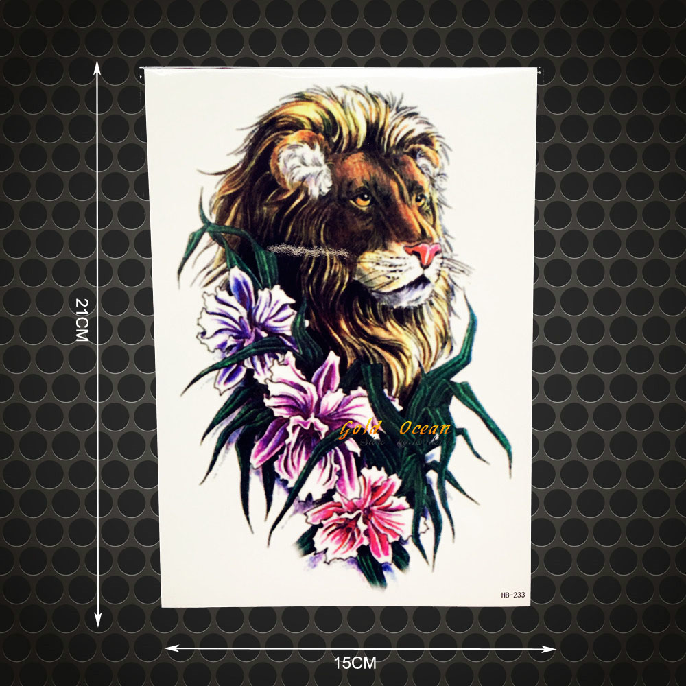 3D Real Lion Temporary Tattoo Stickers WOmen Body Art Arm Tattoo Sleeve 21x15CM Henna Fl ...