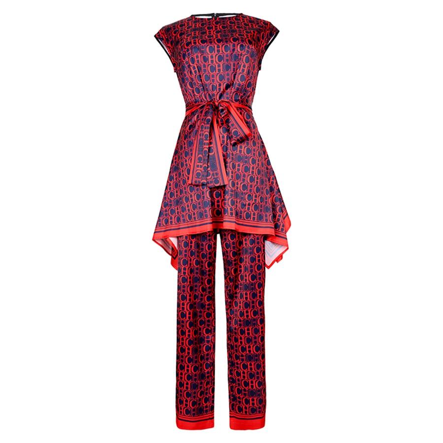 VERDEJULIAY Fashion Letter Print Twinsets 2019 Summer Fashion Sleeveless Belt Irregular Long Top Full Lenght Luxury