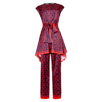 VERDEJULIAY Fashion Letter Print Twinsets 2019 Summer Fashion Sleeveless Belt Irregular Long Top + Full Lenght Luxury Pants Suit