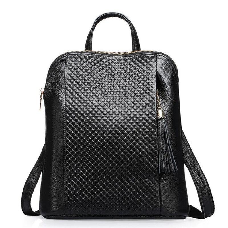 ФОТО New Fashion Design Women Sac Genuine Leather For Teenager Girls College Student School Backpacks Travel Bags Vintage Tassel Bag