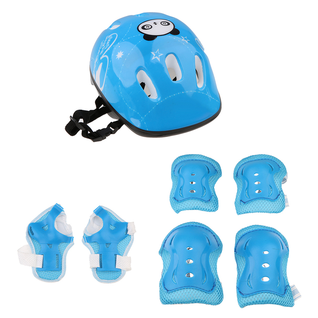 Adjustable 7 Pcs Kid Roller Skating Bicycle Helmet Knee Wrist Guard Elbow Pad Set for Child Cycling Sports Protective Guard Gear 1