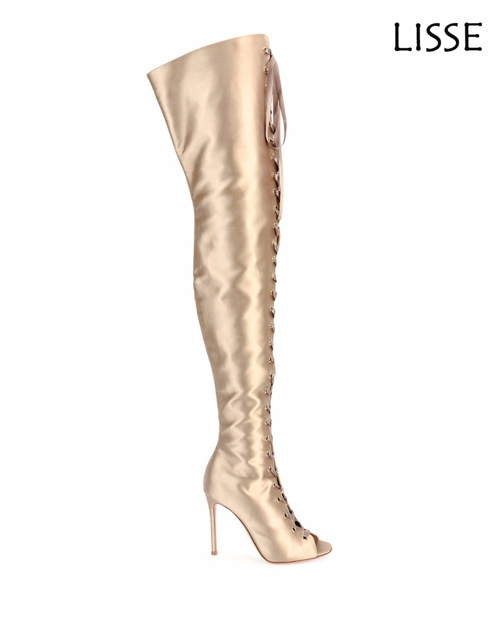 5ebe48c9db6 Women Peep Toe Lace Up Over the Knee Boots Gold Satin Thigh High Heels Boots  US ...