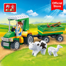 BanBao 8586 Farm Vehicle Car Cow Countryside Bricks Educational Building Blocks Model Toy For Kids Children(China)
