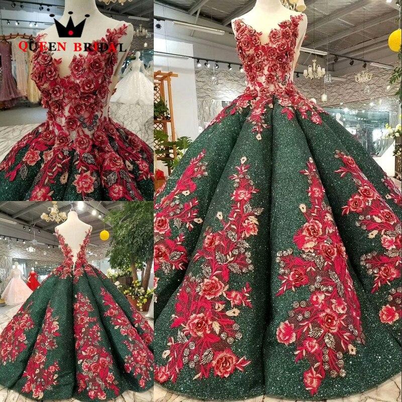 Reine Robe De soirée De mariée 2019 Robe De bal dentelle Tulle fleurs Robe De soirée perlée sur mesure robes De soirée à lacets EV215