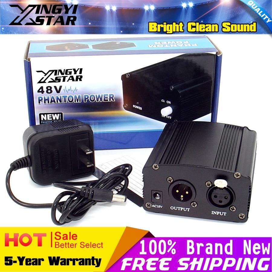 US Plug Professional 48V DC Phantom Power Supply For BM 700 Condenser Mic Mike PC Broadcasting Video Studio Recording Microphone