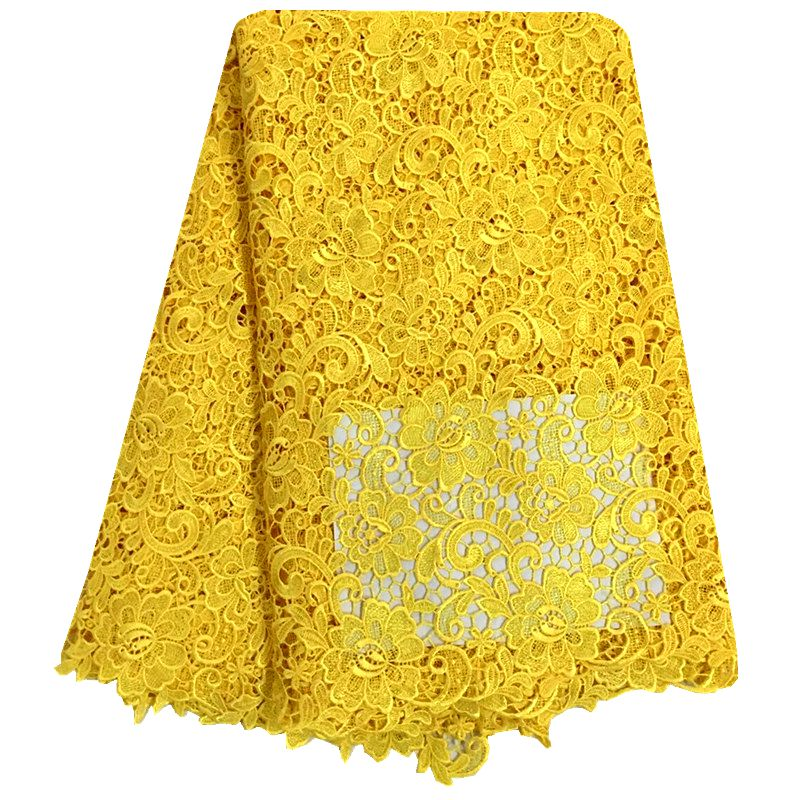 Water Soluble African Cord Lace 2016 Yellow Nigerian Laces Guipure Embroidery Fabric Lace For Wedding Dress