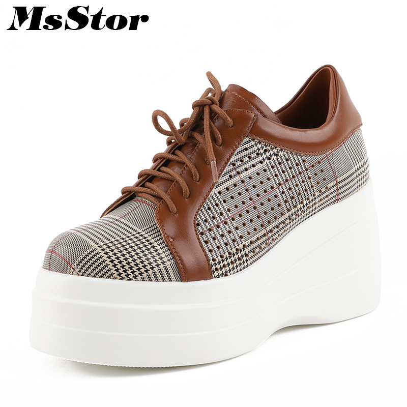 MsStor Hollow out Breathable Women Shoes Fashion Casual Ladies Flat Shoes Round Toe Gingham Mixed Colors Platform Women Flats nis women air mesh shoes pink black red blue white flat casual shoe breathable hollow out flats ladies soft light zapatillas
