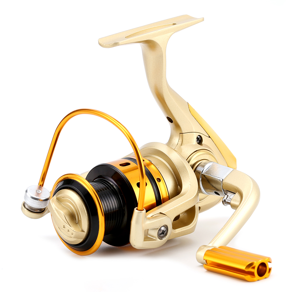 GOLD Spinning Fishing Reel MR2-7000 Small Wheel Yellow 10BB 5.0:1 Carp Coil Aluminum Spool Folding Type Handle Tackle