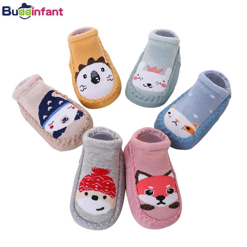 아기 소년 양말 면화 따뜻한 바닥 양말 고무 밑창 유아 신발 양말 유아 소녀 홈 슬리퍼 신생아 아기 신발 신발