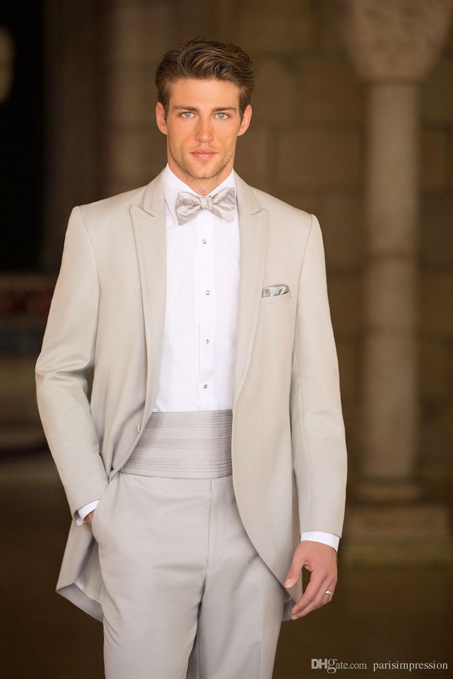 New Arrival Formal Slim Fit Beige Wedding Suits For Men Peaked Lapel Best Tailcoats Morning One On Groomsmen Suit In From S Clothing