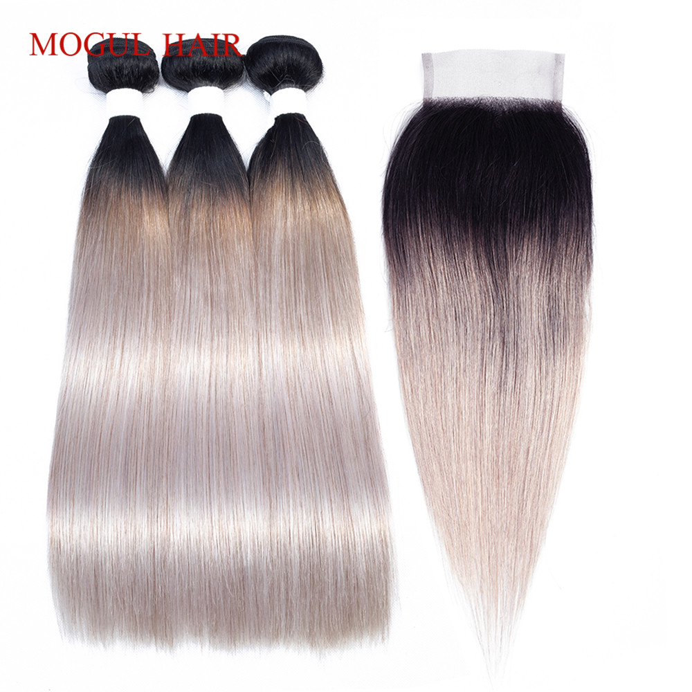 MOGUL HAIR T 1B White Grey Ombre Human Hair 2/3 Bundles With Closure Brazilian Straight Hair Bundles Remy Hair Weave Extension