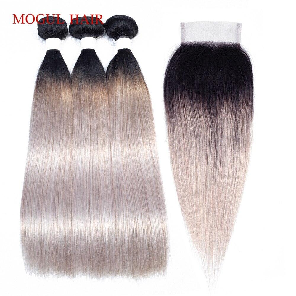 MOGUL HAIR T 1B White Grey Ombre Human Hair 2/3 Bundles With Closure Brazilian Straight Hair Bundles Remy Hair Weave Extension
