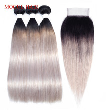 MOGUL HAIR T 1B White Grey Ombre Human Hair 2/3 Bundles with Closure Brazilian Straight