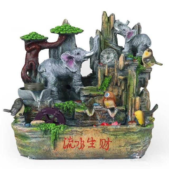 Indoor Water Fountain Pond Rockery Fountain Creative Elephant ...