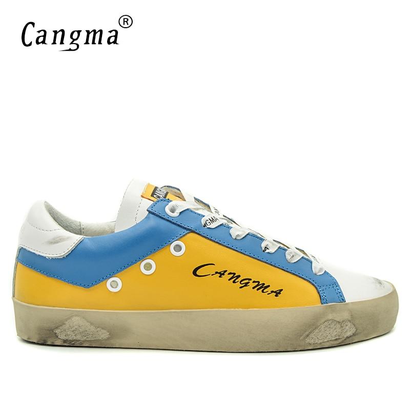 CANGMA Fashion Male British Footwear Leisure Yellow Genuine Leather Shoes Man Platform Sneakers Breathable Handmade Flats Men 2017 men genuine leather boat shoes male british style retro flat shoe fashion leisure handmade sapato masculino d30