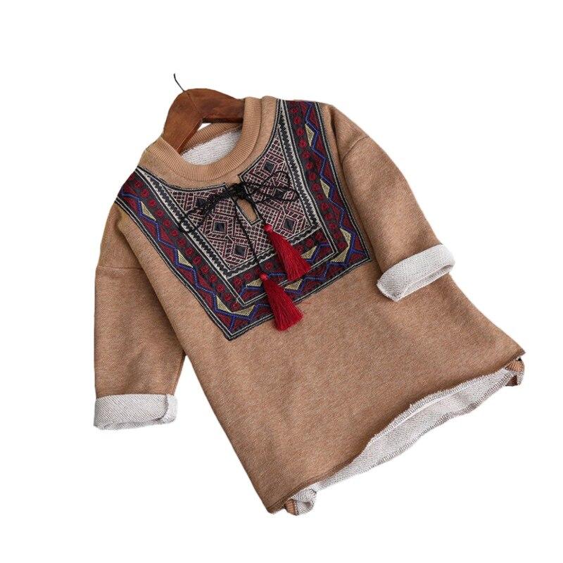 Retro Geometric Style T Shirts For Girls Spring Children Tshirts Autumn Long Sleeves Linen Tassel Designed Tops Girl Tees O Neck