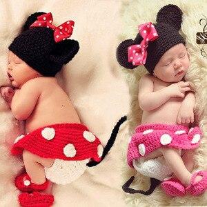 1 セット新生児の少年かぎ針ニットコスチューム写真写真プロップ帽子のためのミニー編みニット衣装