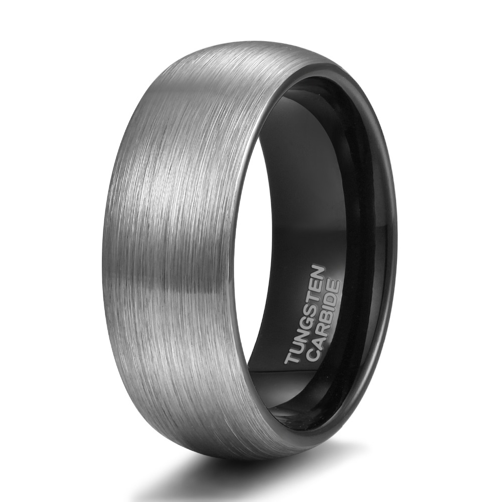 Somen Ring Män Silver 8mm Tungsten Ring Vintage Bröllop Band Man - Märkessmycken - Foto 4