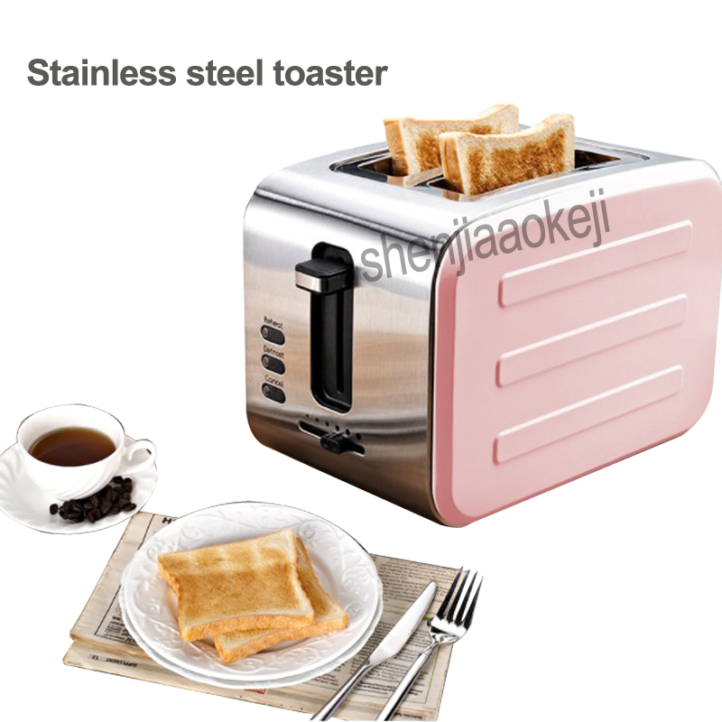 1pc Stainless steel toaster Two pieces of bread household toaster breakfast bread machine six gear baking household 220v 800w