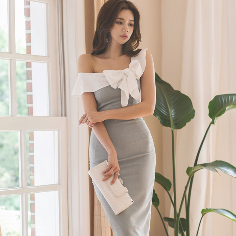 2018 Summer One-Shoulder Bowknot Patchwork Knee-Length Pencil Bodycon Grey Cloth Women Sexy Party Dress